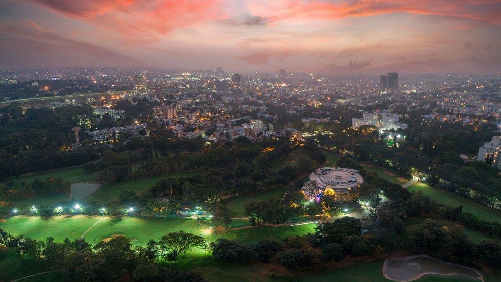 The Historic Bangalore Golf Club & the City Skyline